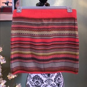 Orange knit mini skirt